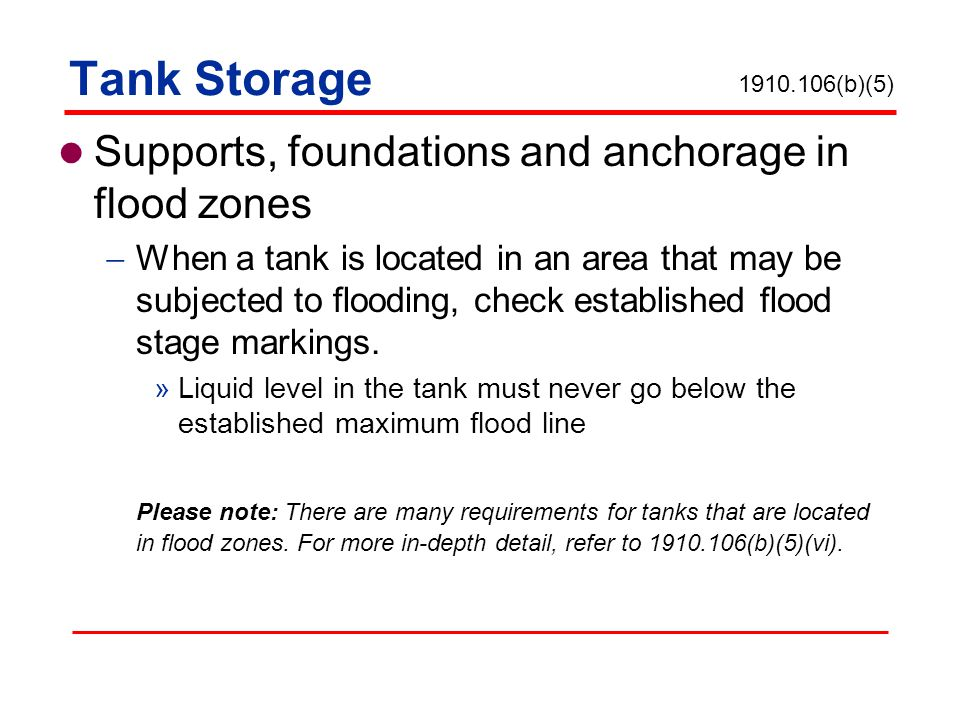 Tank Storage Supports, foundations and anchorage in flood zones