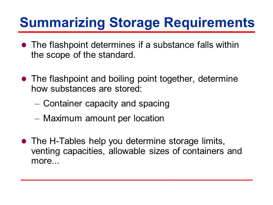 Summarizing Storage Requirements