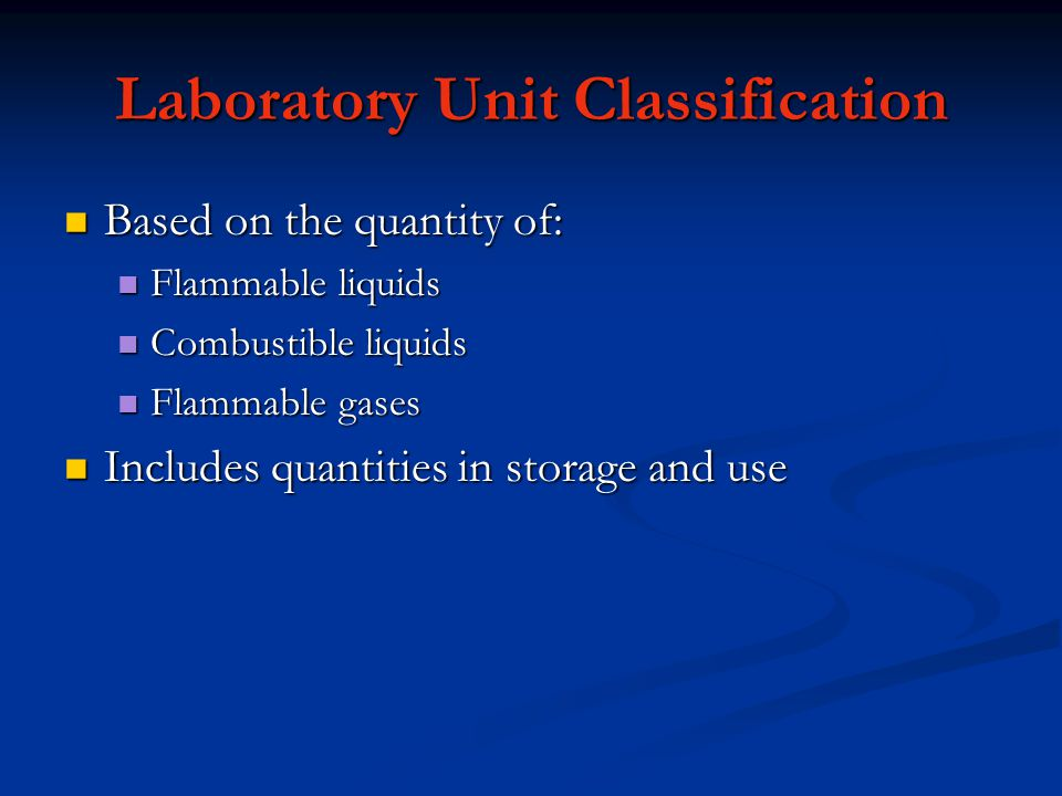 Laboratory Unit Classification