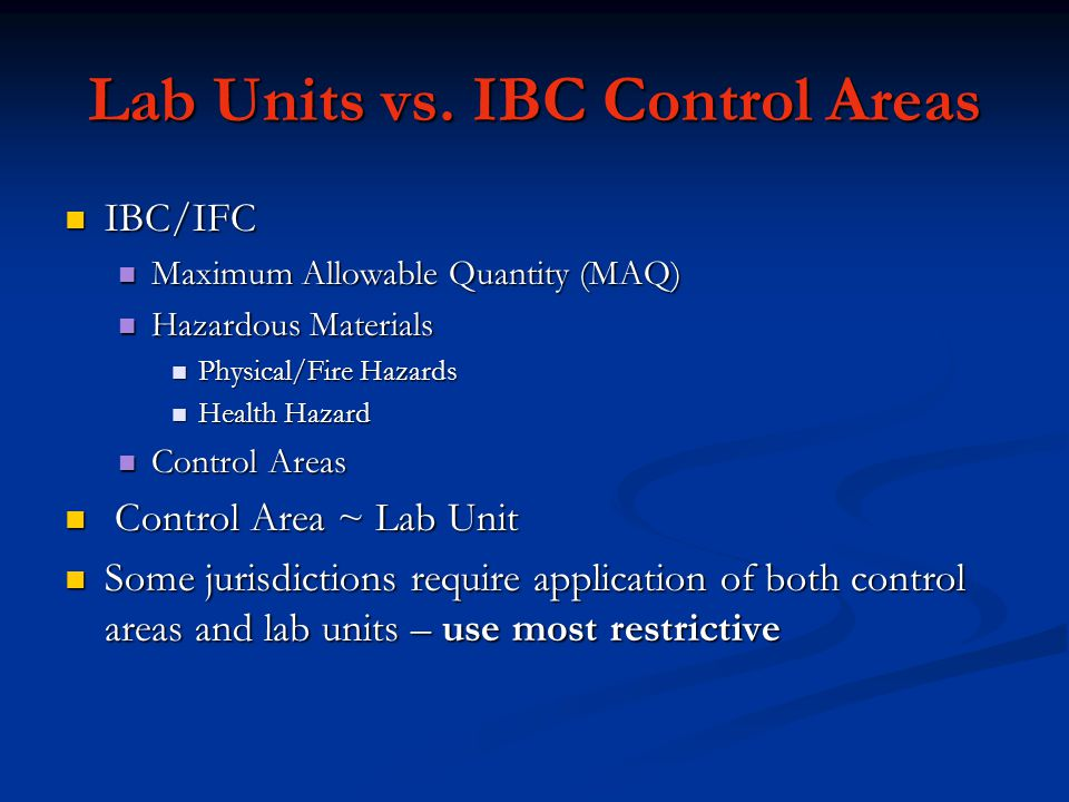 Lab Units vs. IBC Control Areas