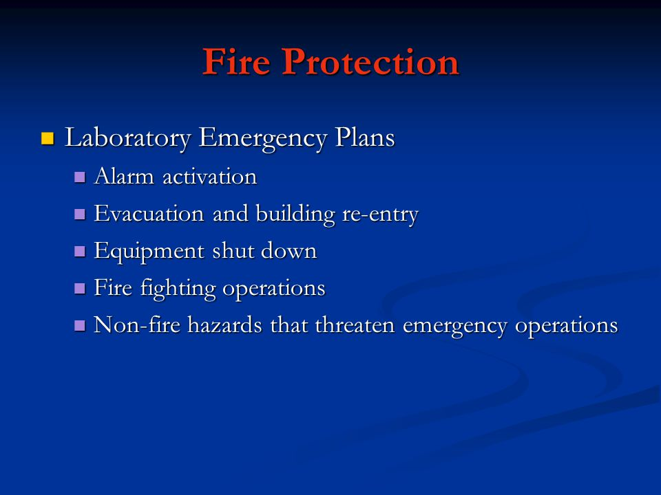 Fire Protection Laboratory Emergency Plans Alarm activation