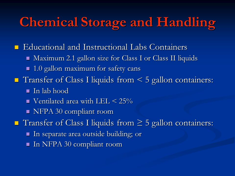 Chemical Storage and Handling