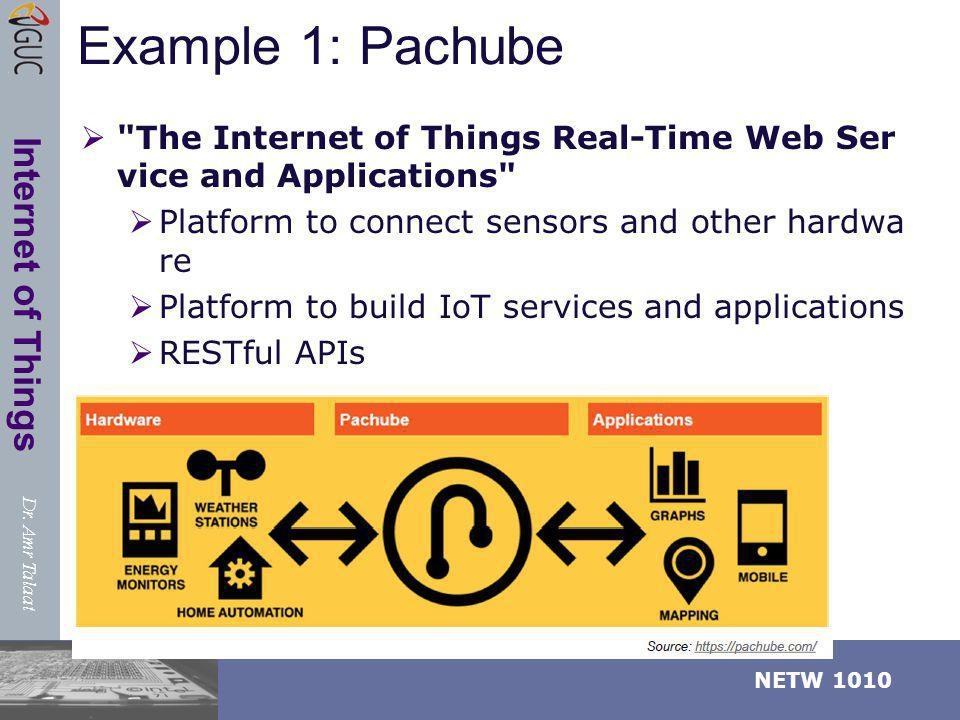 Example 1: Pachube The Internet of Things Real-Time Web Service and Applications Platform to connect sensors and other hardware.