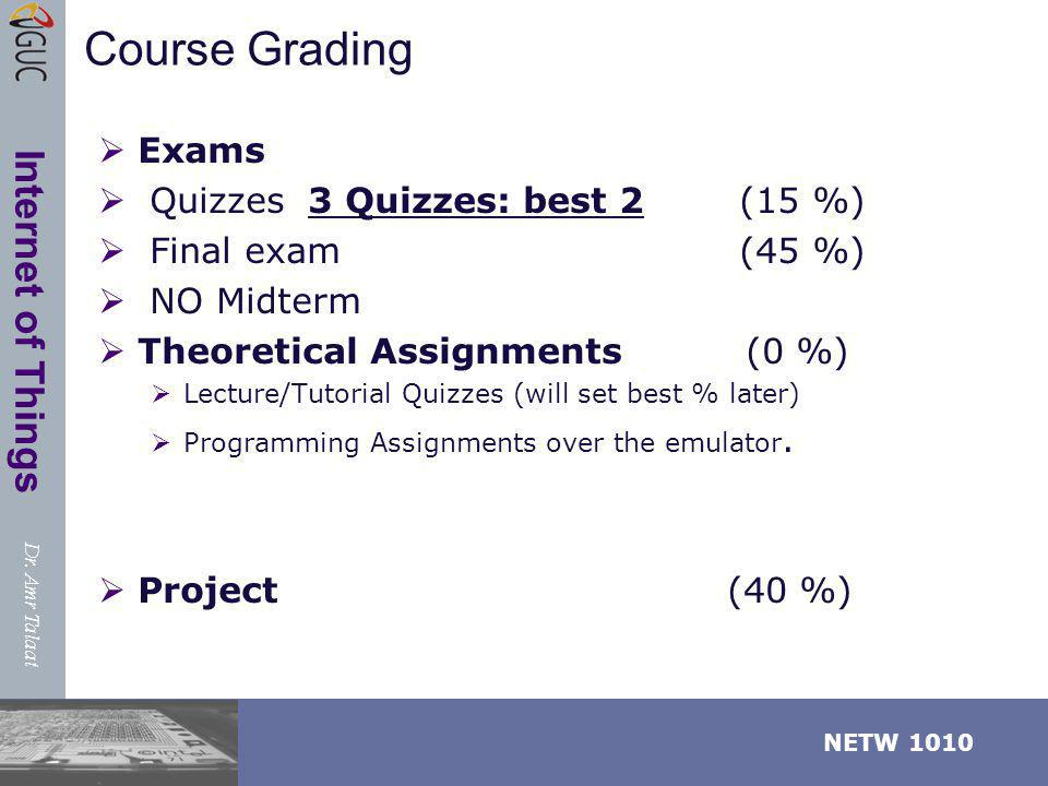 Course Grading Exams Quizzes 3 Quizzes: best 2 (15 %)