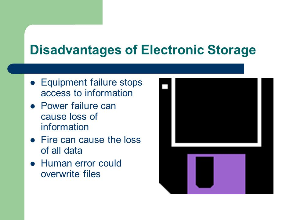 Disadvantages of Electronic Storage