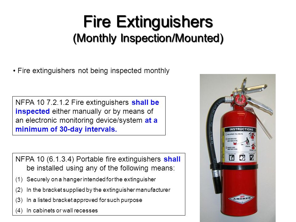 Fire Extinguishers (Monthly Inspection/Mounted)