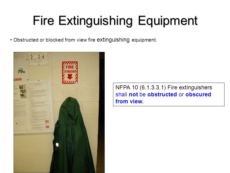 Obstructed or blocked from view fire extinguishing equipment.