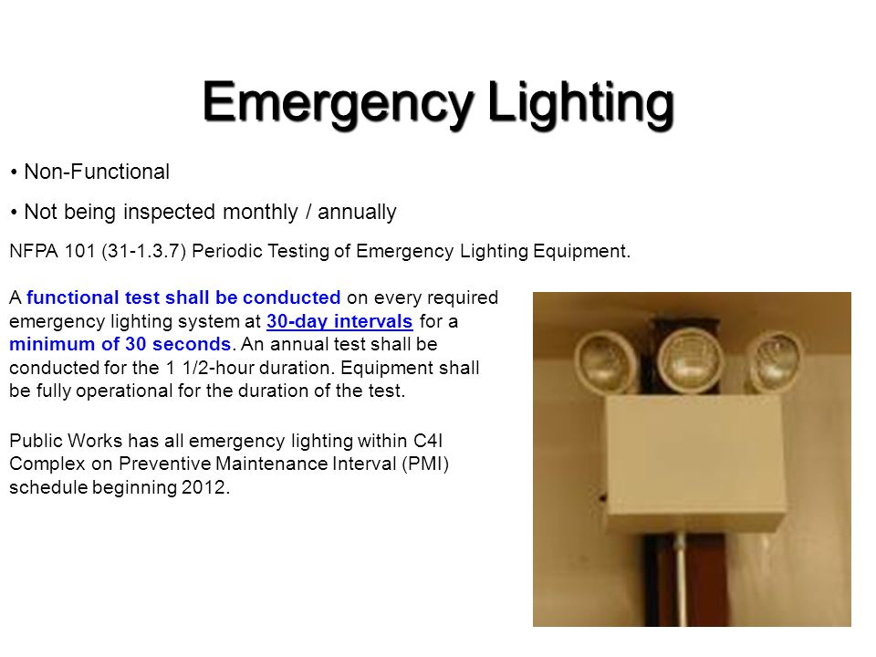 Emergency Lighting Non-Functional
