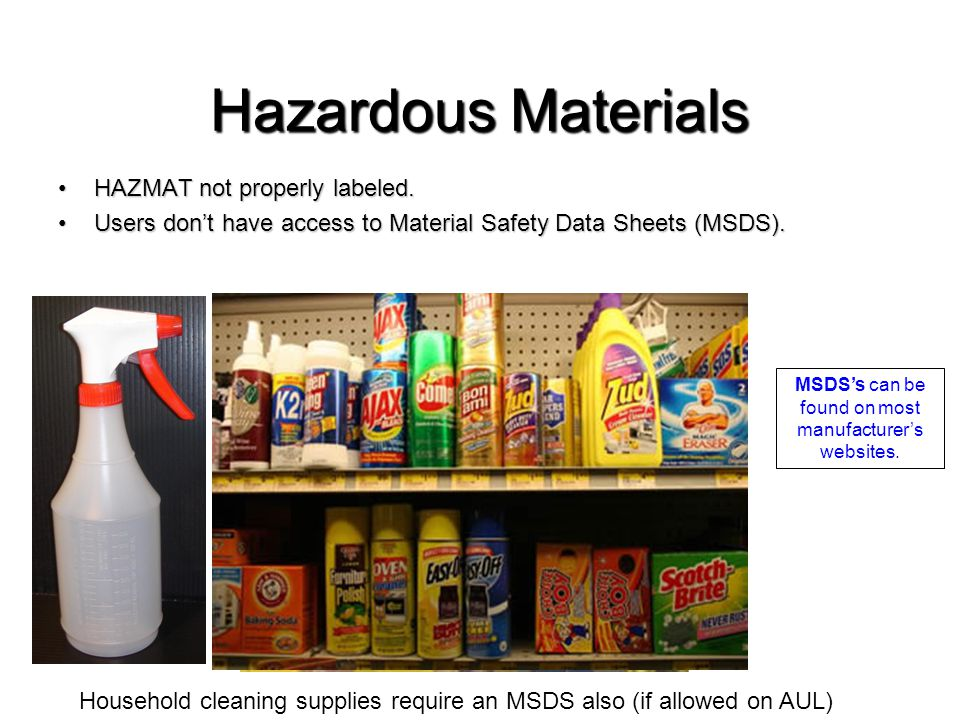 Hazardous Materials HAZMAT not properly labeled.