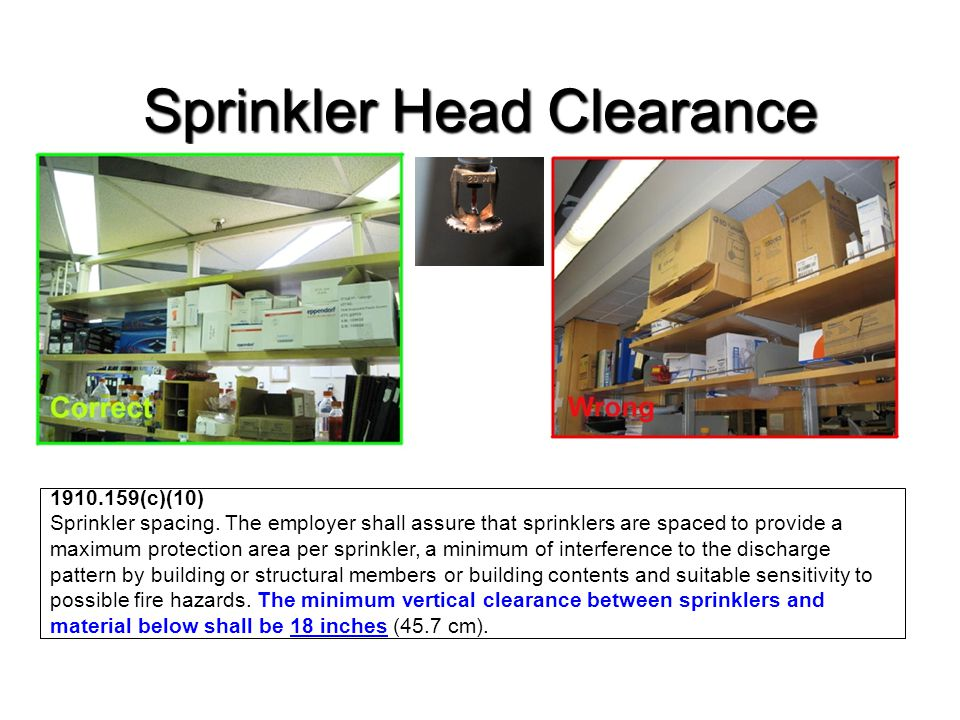 Sprinkler Head Clearance