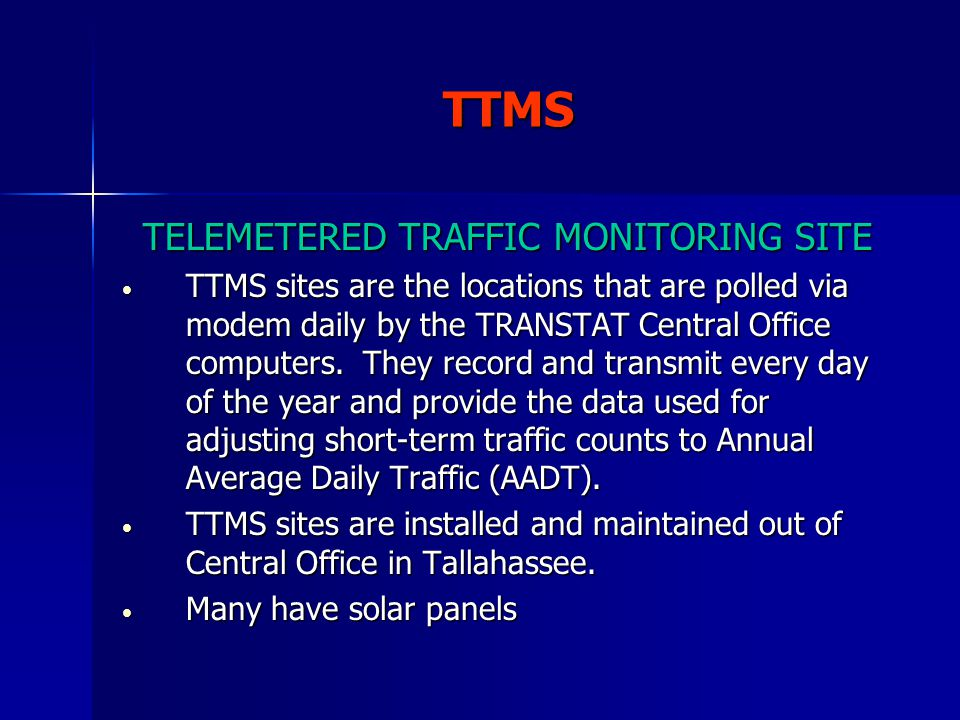 TELEMETERED TRAFFIC MONITORING SITE