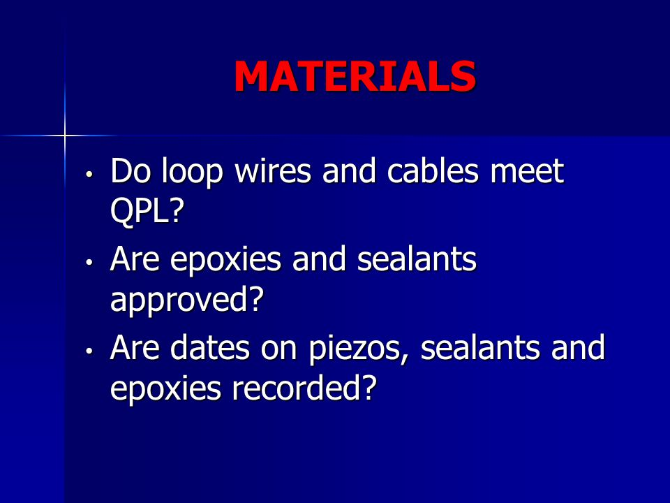 MATERIALS Do loop wires and cables meet QPL