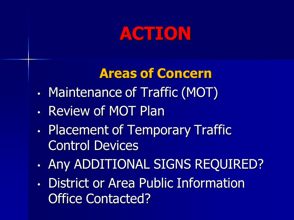 ACTION Areas of Concern Maintenance of Traffic (MOT)