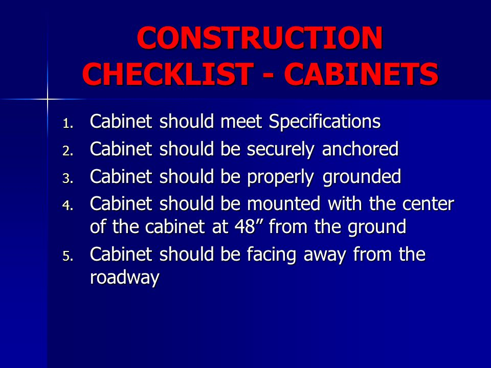 CONSTRUCTION CHECKLIST - CABINETS