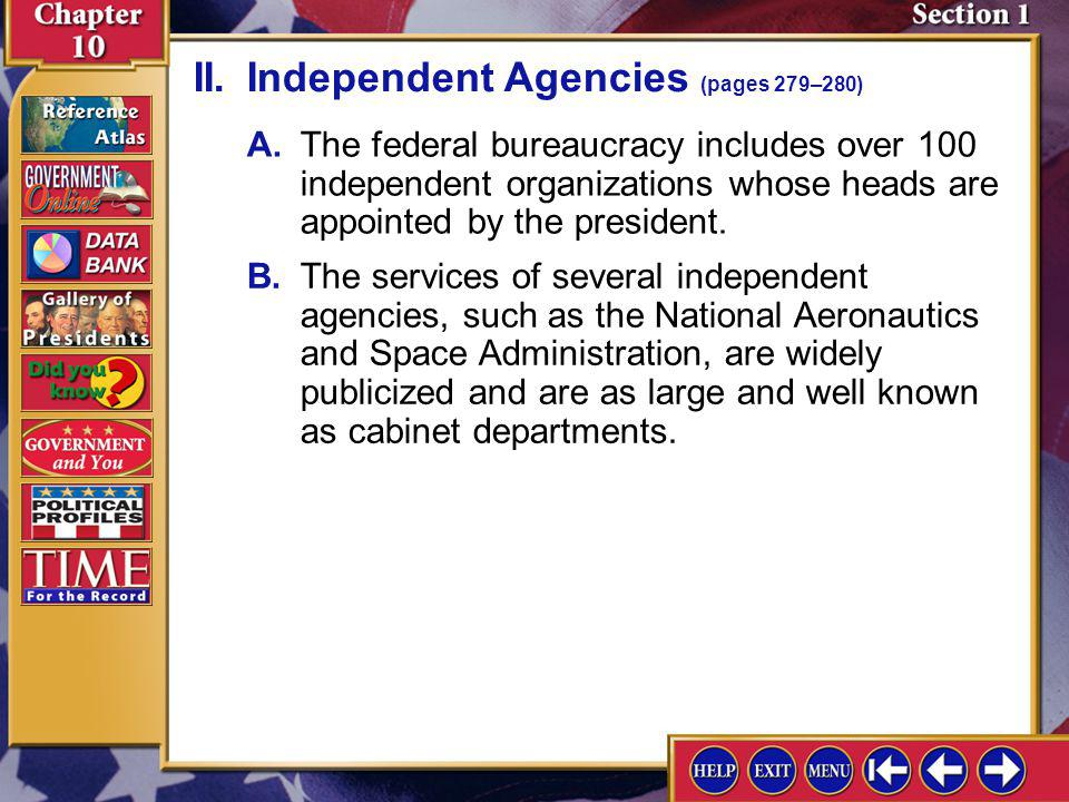 II. Independent Agencies (pages 279–280)