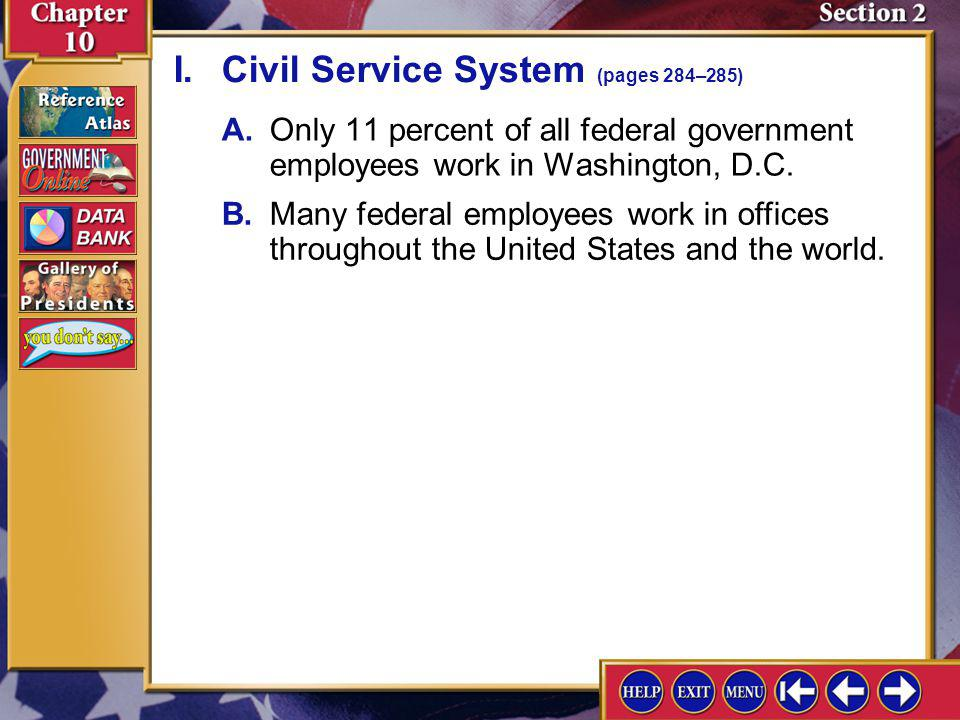 I. Civil Service System (pages 284–285)