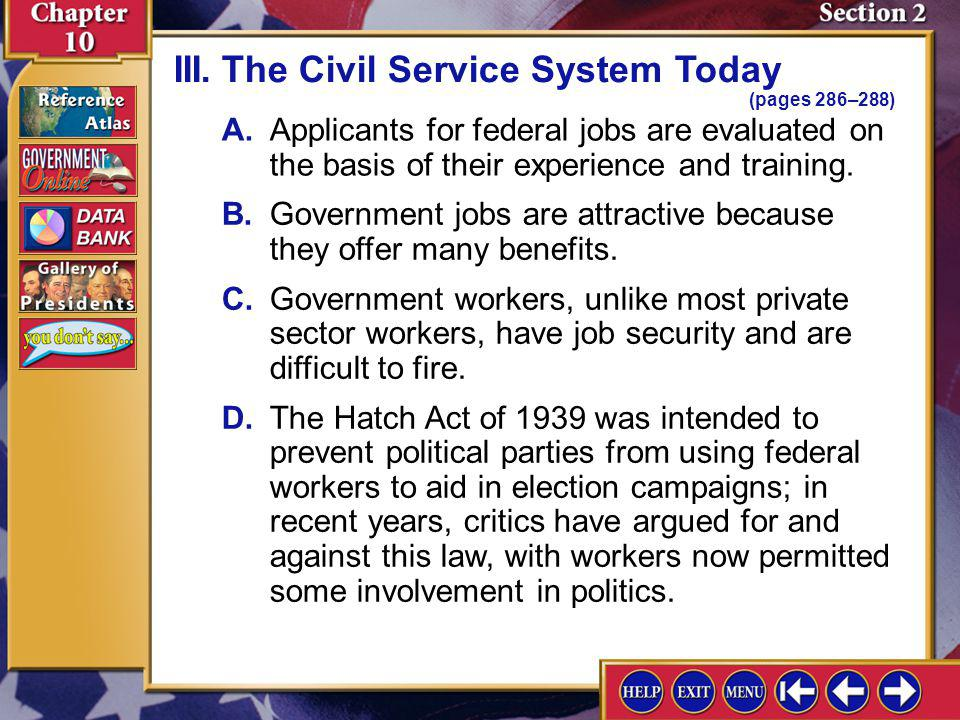 III. The Civil Service System Today (pages 286–288)