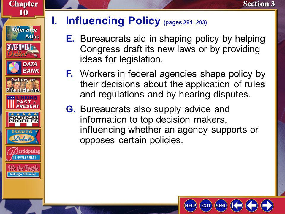 I. Influencing Policy (pages 291–293)
