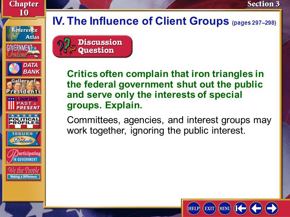 IV. The Influence of Client Groups (pages 297–298)