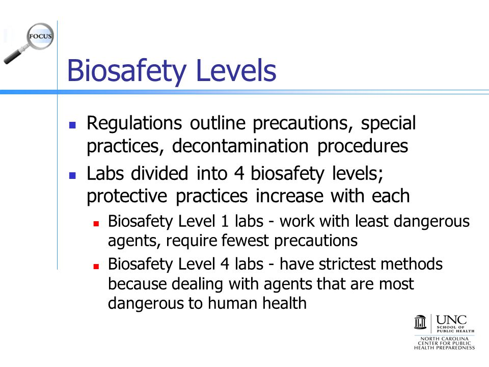 Biosafety Levels Regulations outline precautions, special practices, decontamination procedures.
