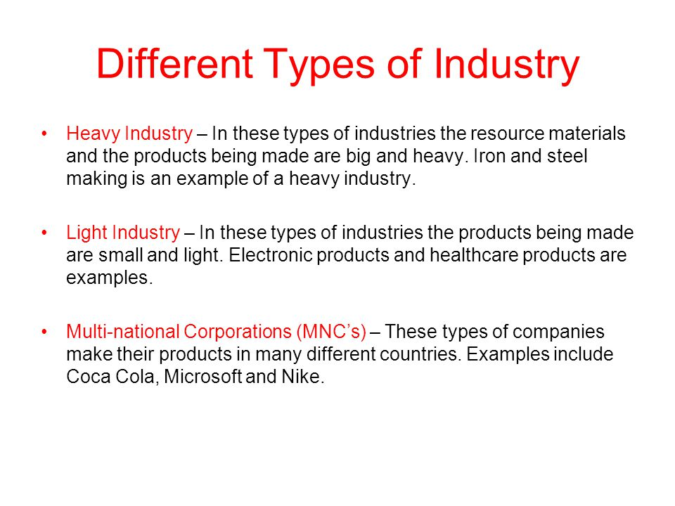 Different Types of Industry
