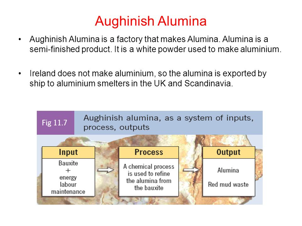 Aughinish Alumina Aughinish Alumina is a factory that makes Alumina. Alumina is a semi-finished product. It is a white powder used to make aluminium.