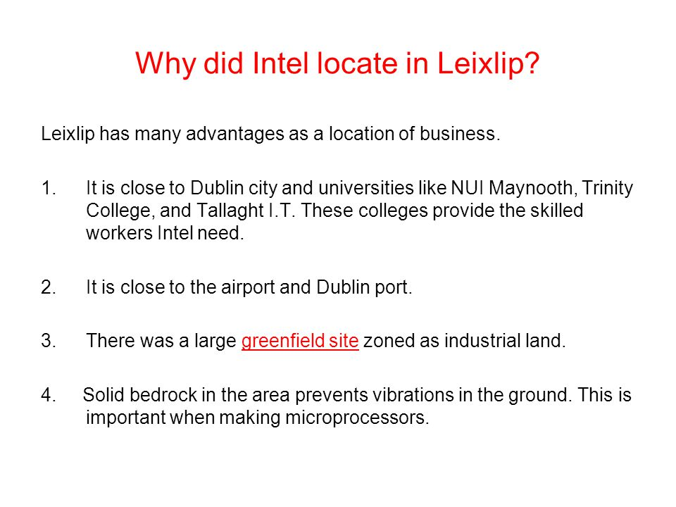 Why did Intel locate in Leixlip