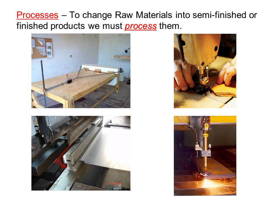 Processes – To change Raw Materials into semi-finished or finished products we must process them.
