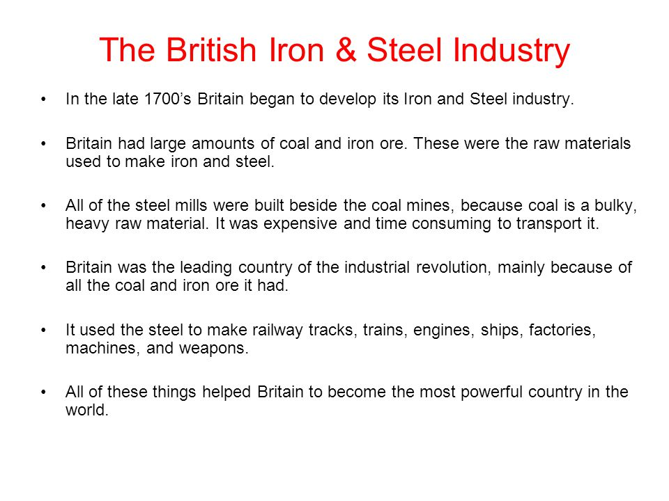 The British Iron & Steel Industry