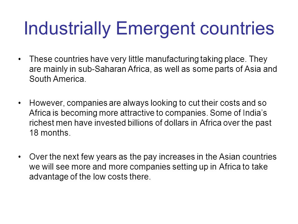 Industrially Emergent countries