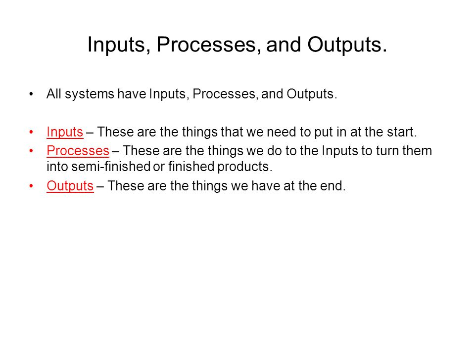 Inputs, Processes, and Outputs.