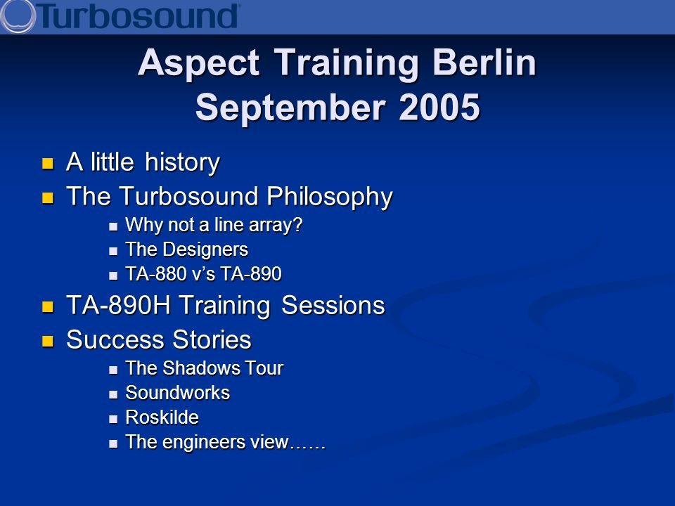 Aspect Training Berlin September 2005