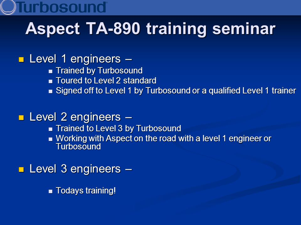 Aspect TA-890 training seminar