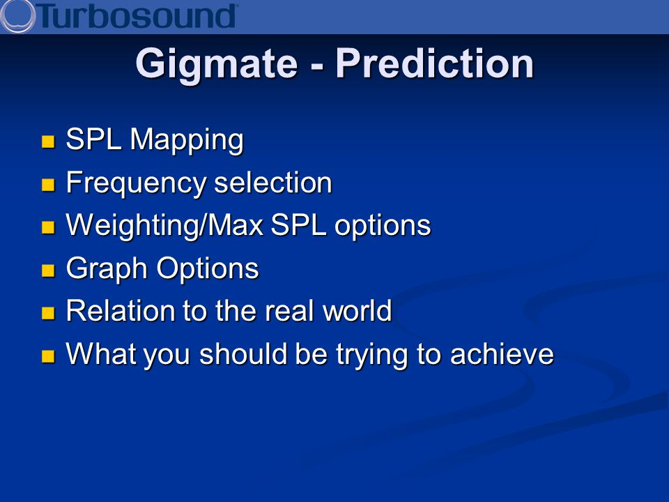 Gigmate - Prediction SPL Mapping Frequency selection