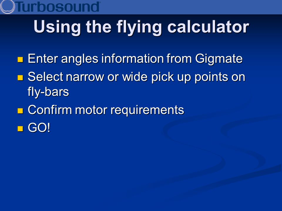 Using the flying calculator