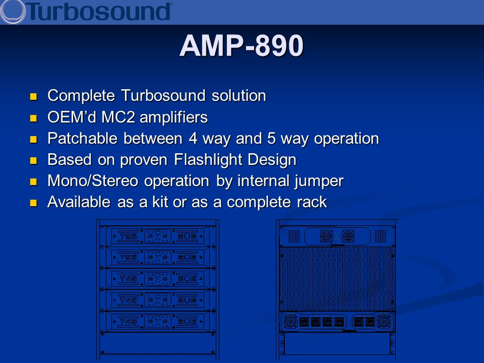 AMP-890 Complete Turbosound solution OEM'd MC2 amplifiers