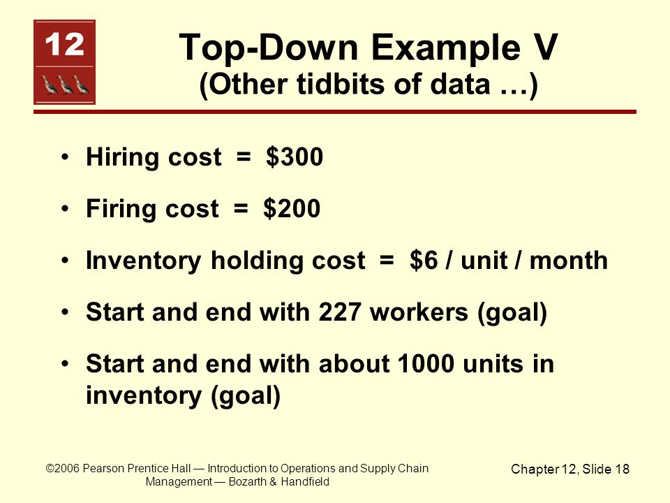 Top-Down Example V (Other tidbits of data …)