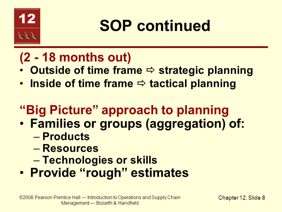 SOP continued (2 - 18 months out) Big Picture approach to planning