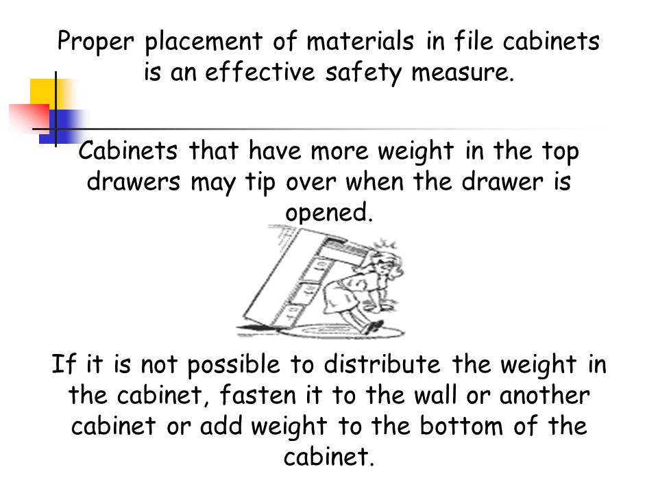 Proper placement of materials in file cabinets is an effective safety measure.