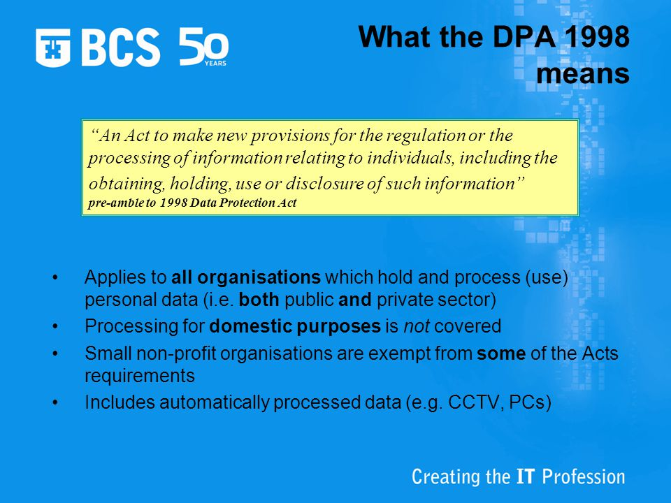 What the DPA 1998 means