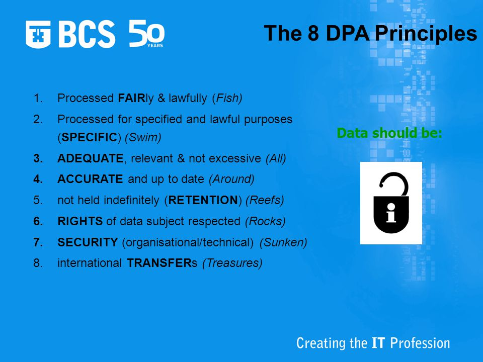 The 8 DPA Principles Data should be: