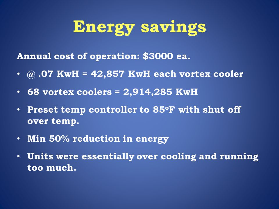 Energy savings Annual cost of operation: $3000 ea.