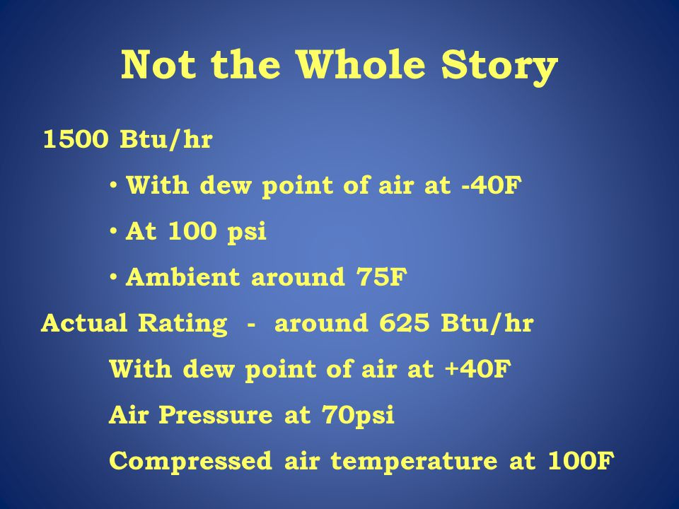Not the Whole Story 1500 Btu/hr With dew point of air at -40F