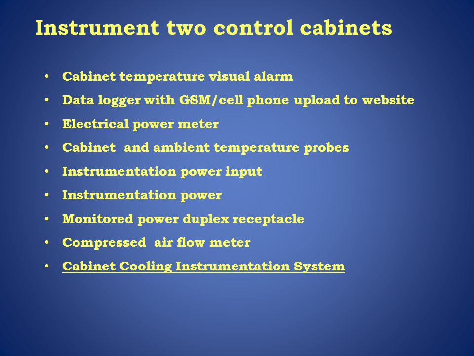 Instrument two control cabinets