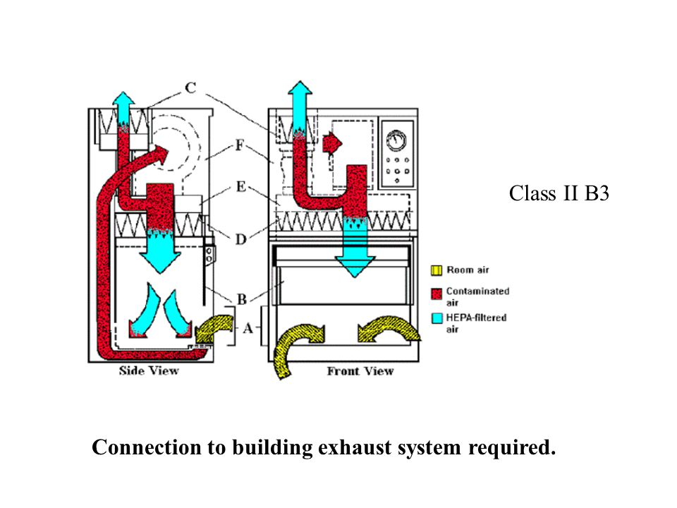 Class II B3 Connection to building exhaust system required.