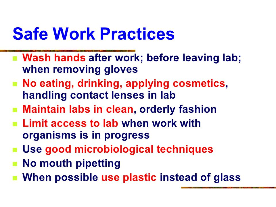 Safe Work Practices Wash hands after work; before leaving lab; when removing gloves.