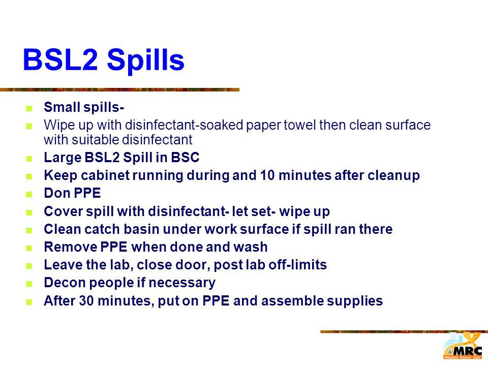 BSL2 Spills Small spills-