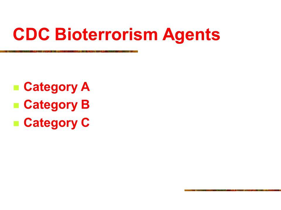 CDC Bioterrorism Agents