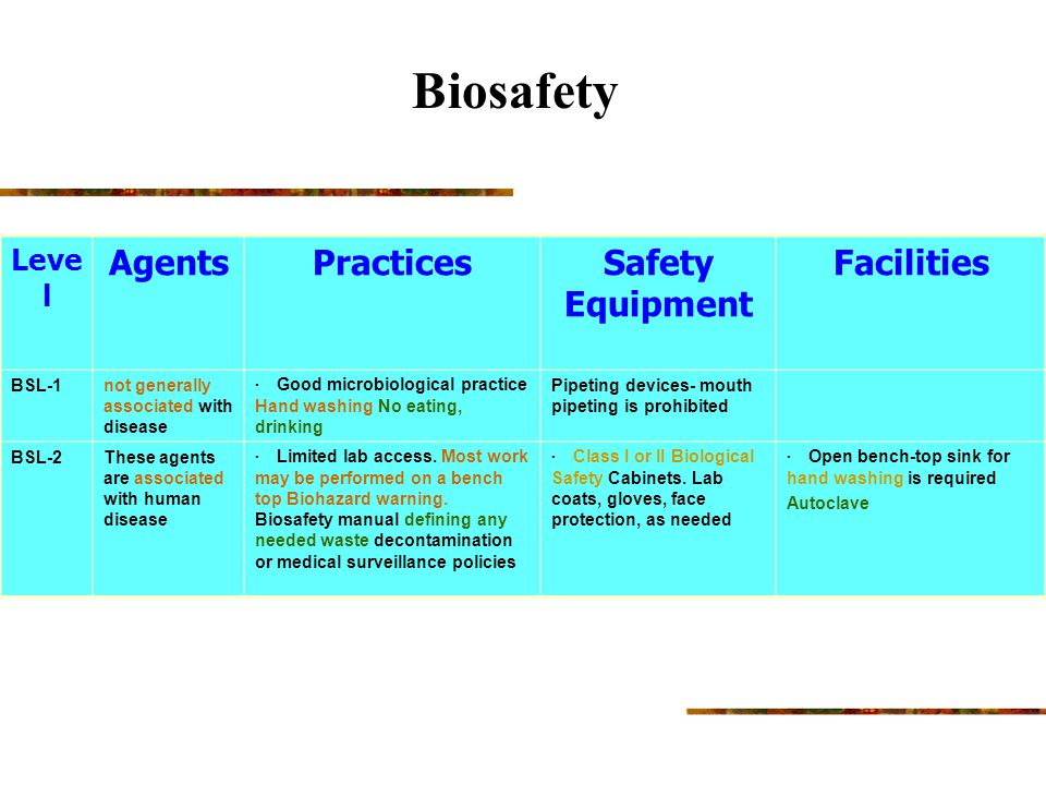 Biosafety Agents Practices Safety Equipment Facilities Level BSL-1