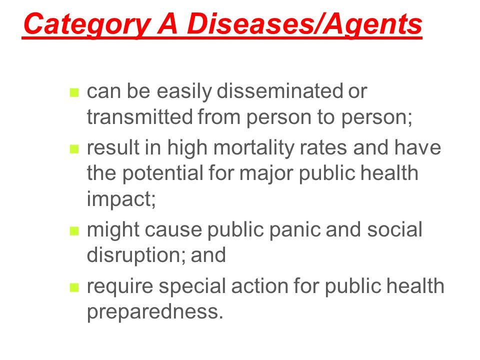 Category A Diseases/Agents